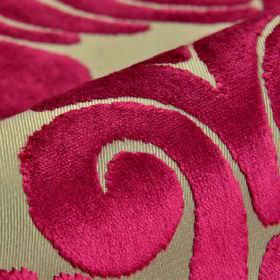 Aries - Pink - A large, dark pink swirl pattern finished with a soft, velvety texture on fabric made from polyester and viscose in grey