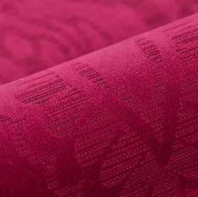 Lynx - Red - Magenta coloured 100% polyester fabric featuring a thinly striped design of very simple leaves