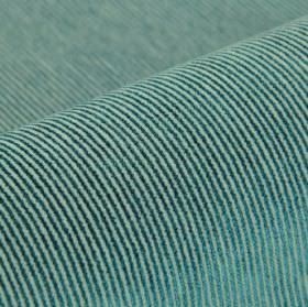 Orion - Ice Blue - Duck egg blue and dark teal coloured cotton, polyester and viscose blend fabric covered with very thin pinstripes