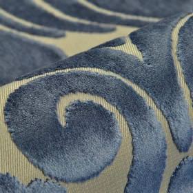 Aries - Blue - Navy blue and light grey coloured fabric made from polyester and viscose, featuring a large, textured swirl pattern