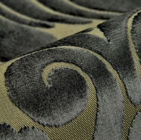 Aries - Grey Beige - Fabric made from polyester and viscose with a large, textured swirl design in two different very dark shades of grey