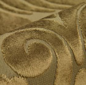 Aries - Brown - Polyester and viscose blend fabric featuring a large, slightly textured swirl pattern in two similar dark gold colours