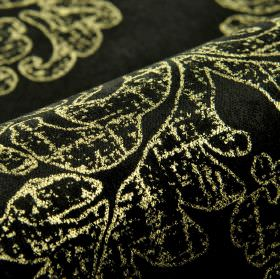Columba - Black Gold (5) - Gold swirls and patchy patterns printed in a luxurious design on jet black fabric blended from various materials