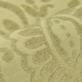 Cetus - Light Beige - Slightly textured green-grey simple leaf designs patterning matching modal, polyester and viscose-chenille blend fabri