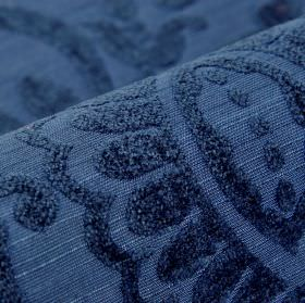 Cetus - Blue - Modal, polyester and viscose-chenille blend fabric in deep indigo, with simple leaf shapes covered with a soft texture