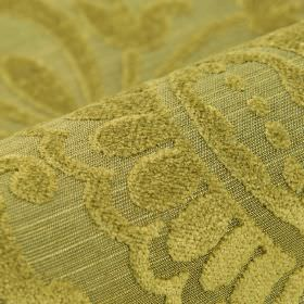 Cetus - Gold (10) - Kiwi green coloured modal, polyester and viscose-chenille blend fabric with a subtle texture covering simple leaf shapes