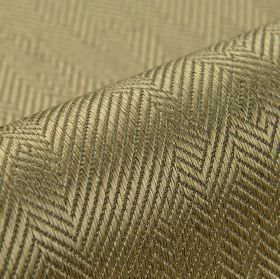Ara - Taupe (8) - Fabric made from dark grey and green-gold cotton and viscose, with an irregular pattern of herringbone style designs