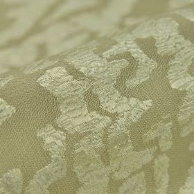 Tuvan - Crème (1) - A crackle effect covering an abstract off-white pattern on light grey fabric made from acrylic, polyester and viscose