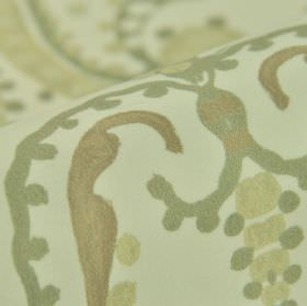 Mansen - Crème Groen (1) - Simple swirls and dots printed in light shades of of grey-cream, green and brown on cream coloured 100% polyester