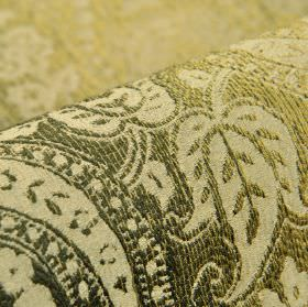 Chanten - Groen 3 - Cream and olive green polyester and viscose blend fabric, with slightly textured areas and a design of leaves and curves