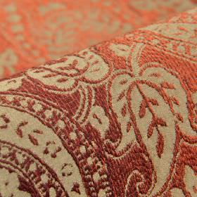 Chanten - Paars Roze (4) - Slightly textured dusky red areas creating ornate leaves, curves and dots on polyester and viscose blend fabric i