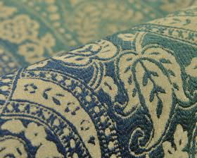 Chanten - Blauw Groen - Polyester and viscose blend fabric with a slight texture on ornate leaves, curves and dots in marine blue and light