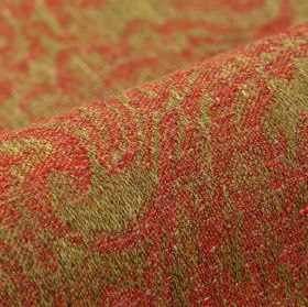 Masai - Rood (6) - Dusky shades of red and green covering linen, polyester and viscose blend fabric with a rough, abstract pattern
