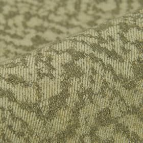 Rendille - Bruin (2) - Fabric made with an abstract shape and line pattern in beige and dark grey on a blend of linen, polyester and viscose