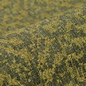 Rendille - Bruin  (4) - Abstract designs covering linen, polyester and viscose blend fabric in grass green and battleship grey