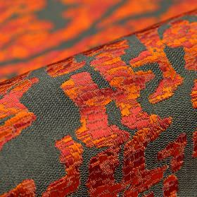 Tuvan - Bruinrood (5) - Fabric made from grey acrylic, polyester and viscose with an abstract crackle glaze effect pattern in fiery orange and