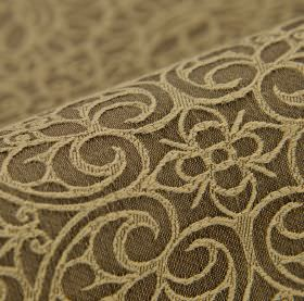 Samburu - Bruin (3) - Wheat coloured designs of simple flowers and swirling hearts on a dark brown cotton and polyester blend fabric backgroun