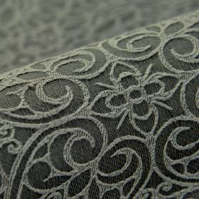 Samburu - Grijs 4 - Light and very dark shades of grey making up a flower and swirling heart design on fabric made from cotton and polyester