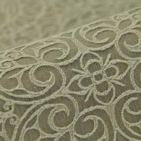 Samburu - Grijs  (5) - Cotton and polyester blend fabric in mid-grey, patterned with flowers and swirling hearts in a lighter shade of grey
