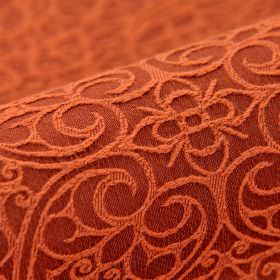 Samburu - Oranje (8) - Flowers and swirling hearts embroidered in dusky orange over a dark red background of cotton and polyester blend fabr