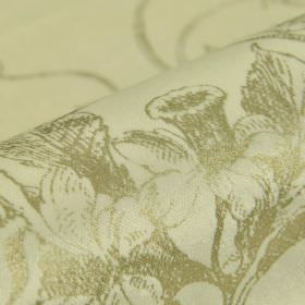 Dolgan - Beige (1) - Shaded green-grey drawings of daffodils and leaves printed on cream coloured cotton, polyester and viscose blend fabric