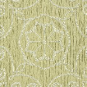Selenio - Brown Beige (1) - Simple off-white swirls and flowers creating a delicate pattern on slightly textured pale green coloured fabric