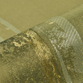 Astato 300cm - Gold Green2 - Polyester and viscose blend fabric featuring patchily coloured stripes in Army green, olive green, light gold a