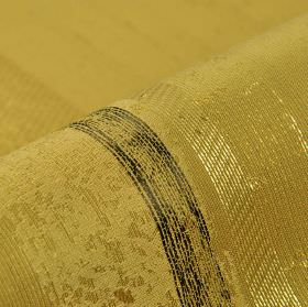 Astato 300cm - Gold Green3 - Fabric made from polyester and viscose with a patchily coloured stripe design in dark grey and various gold-gre