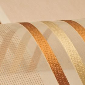 Mercurio 300cm - Brown Beige - Copper and cream coloured stripes and thin lines patterning a translucent nude coloured 100% polyester fabric