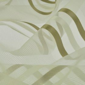 Mercurio 300cm - Brown Beige Gold - Off-white coloured translucent 100% polyester fabric patterned with stripes and lines in khaki and pale