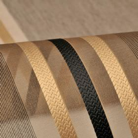 Mercurio 300cm - Green Beige Black - Translucent chocolate coloured fabric made from 100% polyester, with a stripe and line design in carame