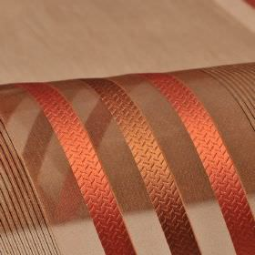 Mercurio 300cm - Brown Red - Red-orange and copper-brown stripes and lines patterning translucent 100% polyester fabric in a dark brown colo