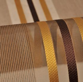 Mercurio 300cm - Brown Green Yellow - 100% polyester fabric made with a honey and chocolate coloured stripe and line design on a translucent