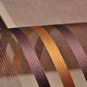 Mercurio 300cm - Brown Purple - Dark purple-brown and orange-caramel coloured lines and stripes on a translucent brown background of 100% poly