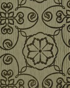 Selenio - Brown (3) - Black and light grey-beige coloured polyester and viscose blend fabric patterned with simple repeated flowers and swir