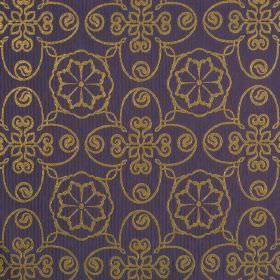 Selenio - Purple Brown - A repeated line drawing pattern of flowers and swirls printed in light brown on navy blue polyester and viscose blend f