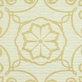 Selenio - Cream Beige - Golden cream and white fabric made from polyester and viscose, patterned with simple swirling lines and flowers