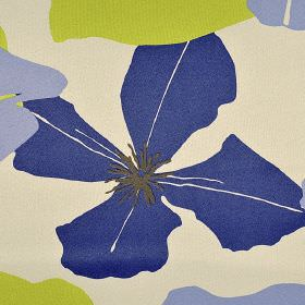 Palta - Grey Blue Green (15) - Royal blue, lime green and light blue flowers printed in a simple design on a beige 100% polyester FR fabric