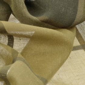 Espinar CS - Taupe (3) - Fabric woven from 100% Trevira CS with a large checked pattern in various khaki, Army green and cream colours