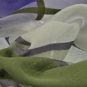 Espinar CS - Blue (6) - 100% Trevira CS fabric woven in purple, white and green shades with a large, simple checked pattern