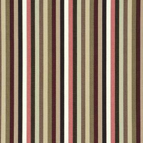 Lima CS - Pink (2) - Shades of brown, pink, maroon, white, black and beige making up a simple, regular striped design on 100% Trevira CS fabri