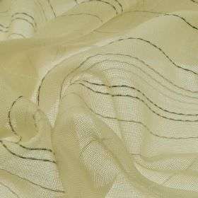 Flores - Cream Yellow Green (1) - Dotted lines in various dark and light shades of grey running down cream coloured fabric made from 100% Tr