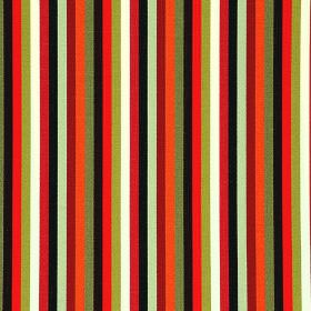 Lima CS - Orange (3) - Brightly coloured striped 100% Trevira CS fabric printed with vertical bands of orange, red, green, black and white