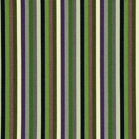Lima CS - Purple (4) - 100% Trevira CS fabric printed with a regular vertical stripe pattern in white, black, purple and various shades of gre