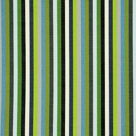 Lima CS - Green (5) - White, black and several bright shades of blue and green printed on 100% Trevira CS fabric in a simple striped design