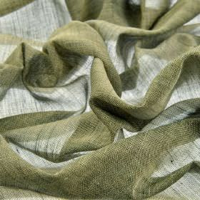 Sousta CS - Green Grey (8) - Thinly woven 100% Trevira CS fabric made using forest green and light grass green coloured threads
