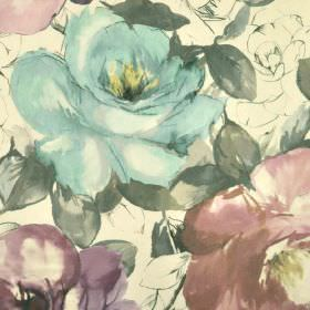 Bridges - Blue Pink Purple (5) - 100% cotton fabric in cream, patterned with realistic roses printed in grey and light shades of blue and pu