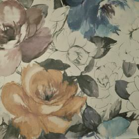 Bridges - Orange (3) - Dusky purple, blue, coffee and grey shades making up a realistic rose pattern on pale grey 100% cotton fabric