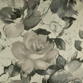 Bridges - Grey (6) - Various different light and dark shades of grey making up a realistic rose print pattern on fabric made from 100% cotto