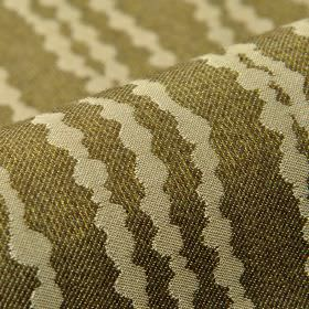 Eliot - Brown (7) - Cream coloured dots arranged in neat rows over a dark khaki green 100% polyester fabric background